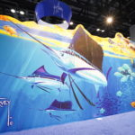 Guy Harvey painted mural on show floor
